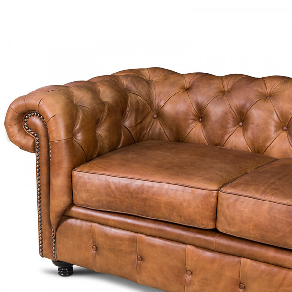 Love Seat Chesterfield 100% Piel Genuina Anilina