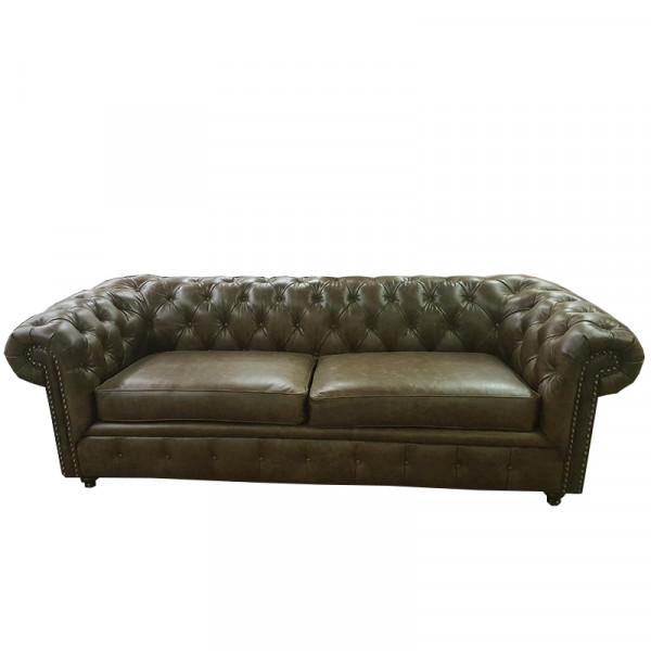 Sofá Chesterfield Pull Up 100% Piel Genuina Anilina